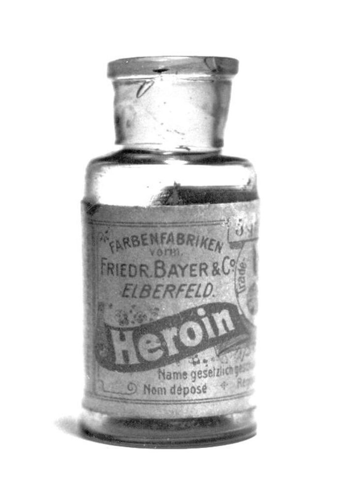 Small glass vial of heroin, branded Friedr, Bayer & Co., or what's now known as Bayer.