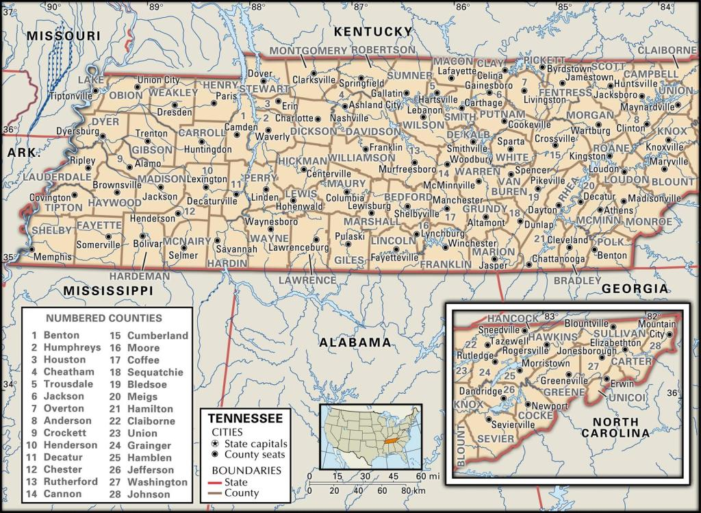 Tennessee county map.