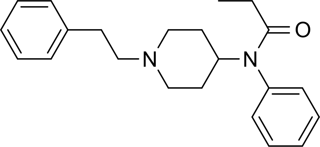 Two-dimensional chemical structure of fentanyl, a synthetic opioid.