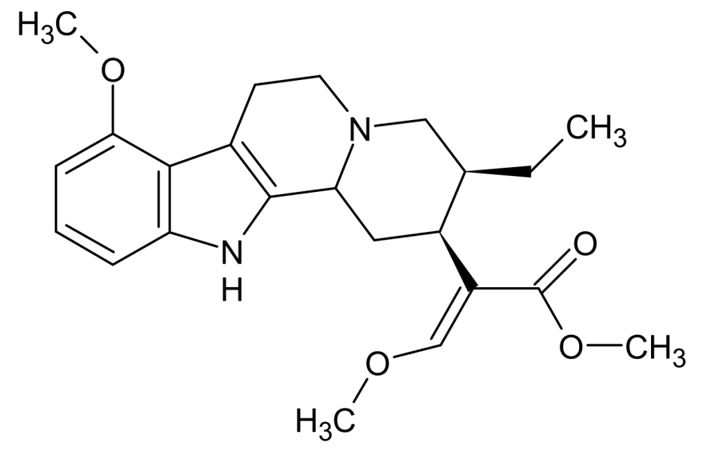 Chemical structure of mitragynine, the chief alkaloid of kratom